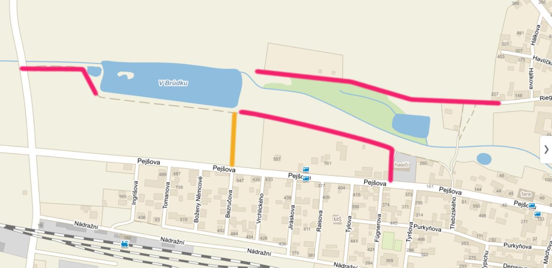 Nová přístupová cesta k rybníku